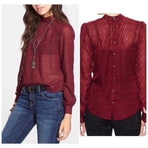 🆕️Free People After Midnight Blouse In Merlot🆕️
